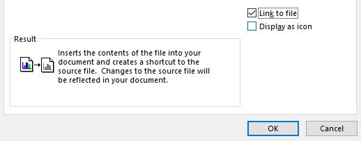 centang link to file di word