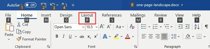 shortcut landscape di word