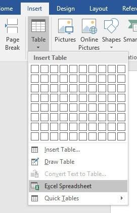 table excel ke word