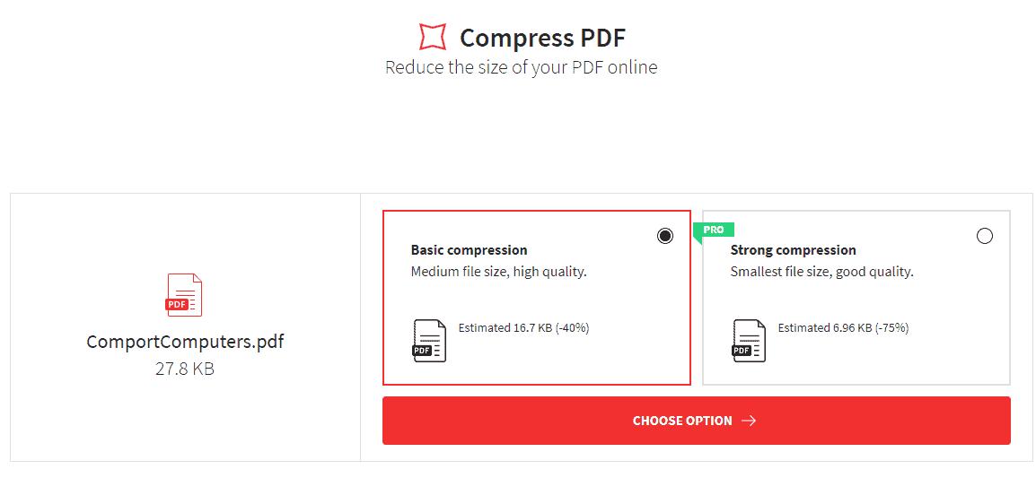 memilih jenis PDF compression