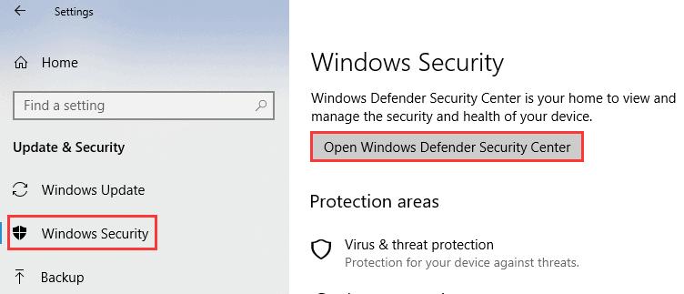 pilih windows defender security