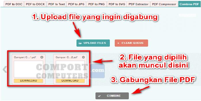 langkah menggunakan combinePDF