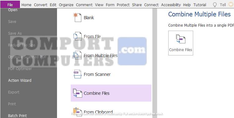 buka foxit reader > pilih file > create > combine files
